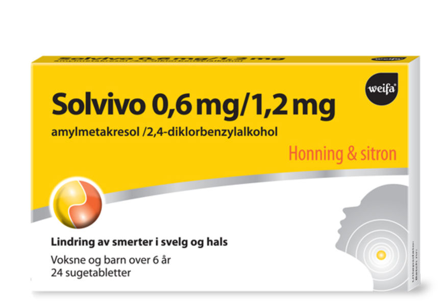 Solvivo sugetabletter honning&sitron 0,6/1,2 mg (24 stk)